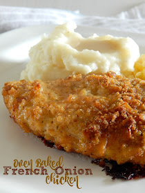 Oven Baked French Onion Chicken...just like fried chicken but without the mess!  Crispy, juicy and flavorful...goes perfectly with homemade mashed potatoes on the side. (sweetandsavoryfood.com)