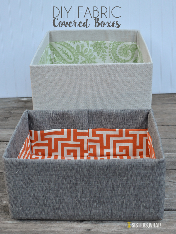 DIY Fabric covered boxes using cardboard boxes and fabric! So Easy!!!