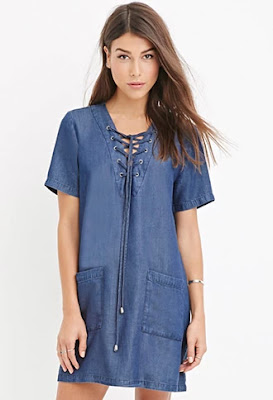 Contemporary life in progress lace-up chambray dress, $24.90 from Forever 21