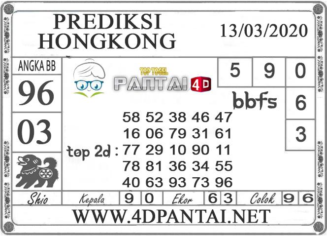 PREDIKSI TOGEL HONGKONG PANTAI4D 13 MARET 2020