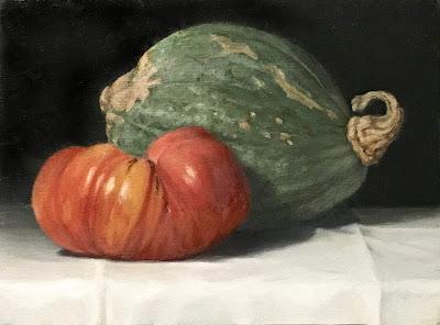 fall harvest, original oil painting, painted vegetables