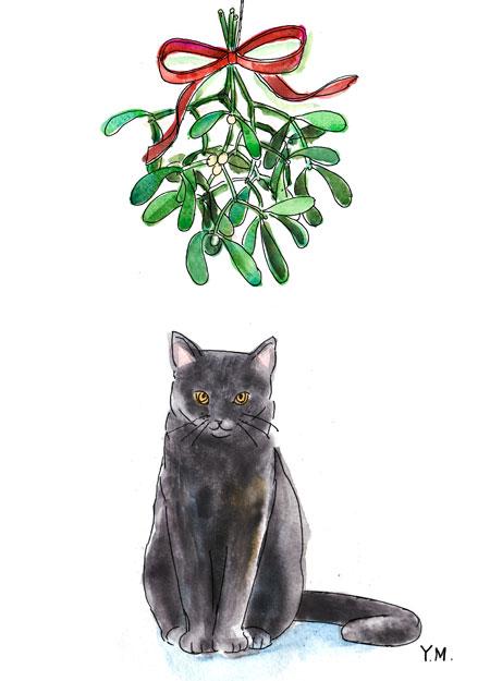 Mistletoe and cat by Yukié Matsushita