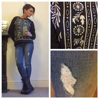 Next worn skinny jeans, Zara embroidered sweatshirt