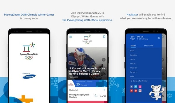 Samsung's official application for the Winter Olympics is now available for download