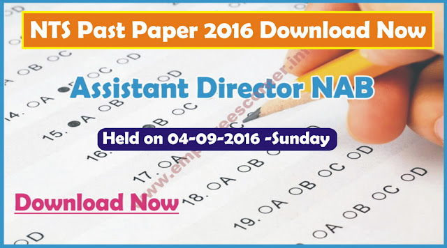NTS Past Paper Assistant Director NAB 2016