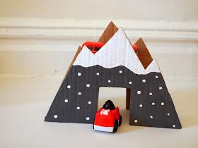 Finished toy cardboard mountain bridge craft