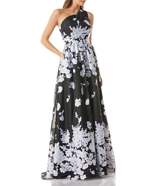 One-Shoulder Floral Organza Ball Gown
