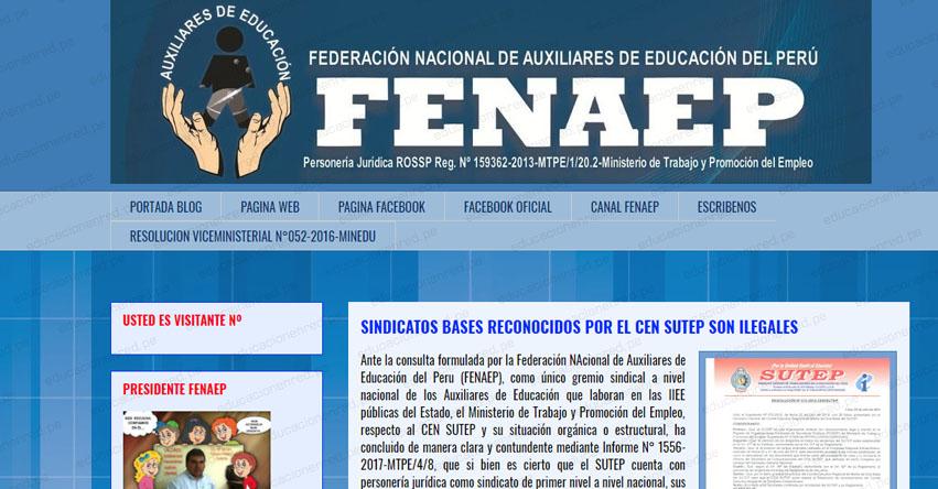 FENAEP: Sindicatos Bases reconocidos por el CEN Sutep son ilegales, informó la Federación Nacional de Auxiliares de Educación del Perú