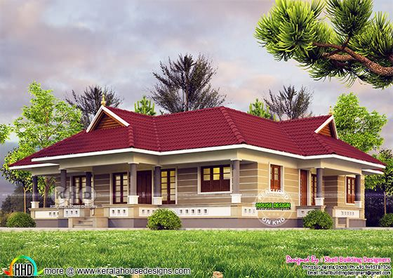 Kerala model sloping roof single storied home 1400 sq-ft
