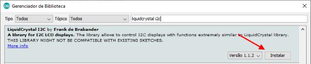 Instalação biblioteca LiquidCrystal I2C Arduino