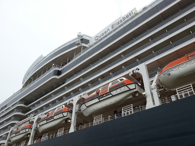 Cunard's Queen Elizabeth in Bergen, Norway; Cruise ships in Bergen