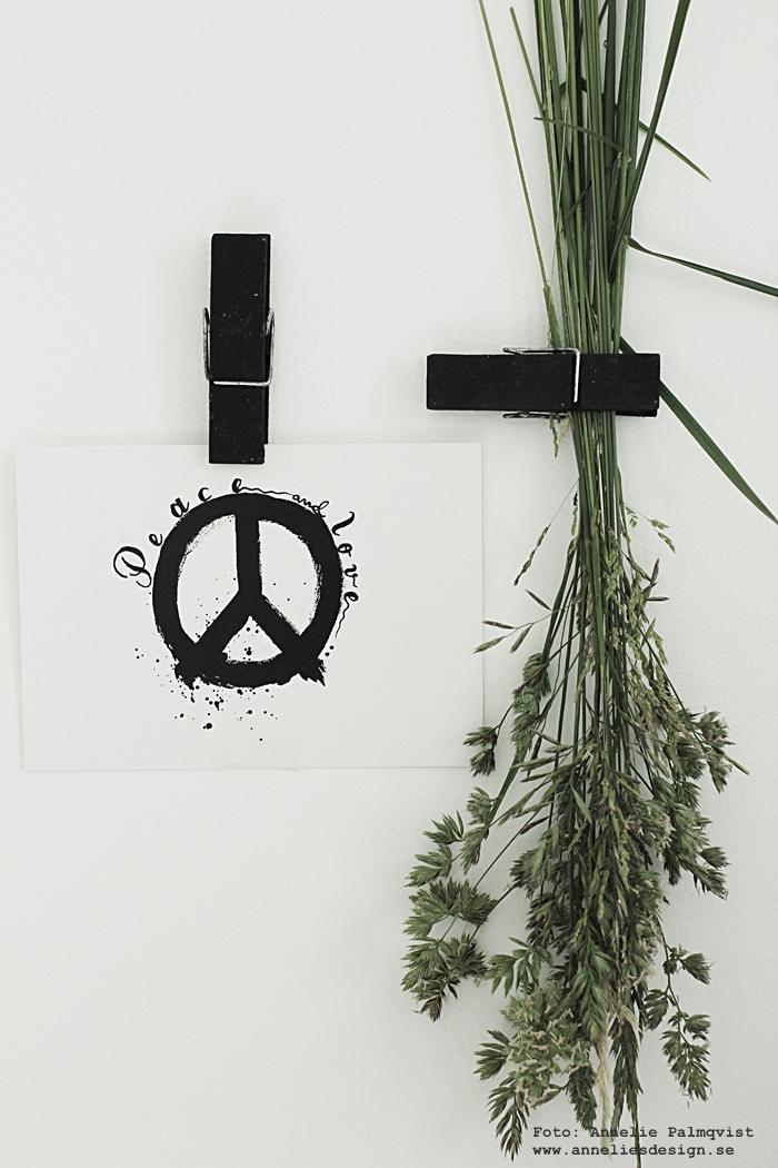 vykort, peace, peacemärke, peacemärket, klämmor, klämma, klädnypa, svart, svarta svart och vitt, svartvit, svartvita, annelies design, webbutik, webbutiker, webshop,