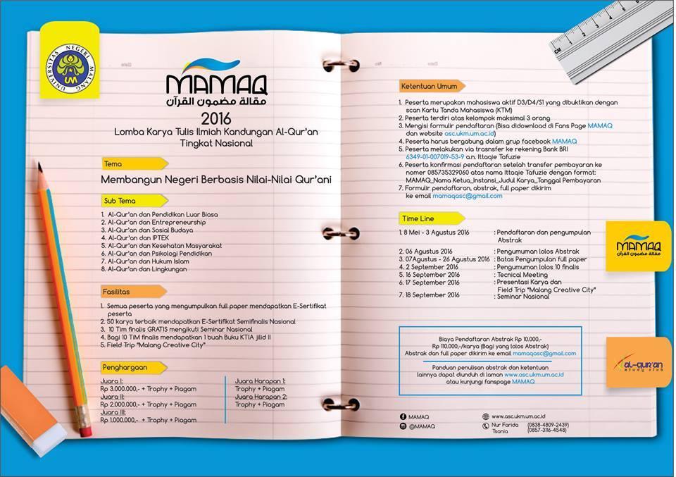 Lomba Karya Tulis Ilmiah Al Qur An Mamaq Festival Fair