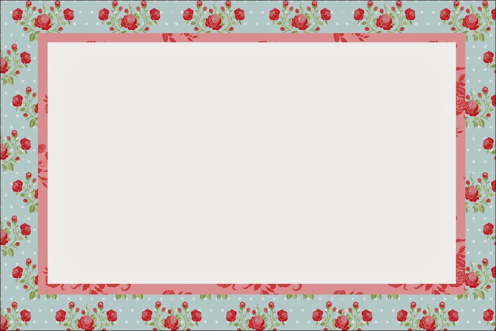 Para hacer invitaciones, tarjetas, marcos de fotos o etiquetas, para imprimir gratis de Shabby Chic de Rosas Rojas en Fondo Celeste