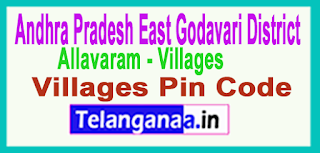 East Godavari District Allavaram Mandal and Villages Pin Codes in Andhra Pradesh State
