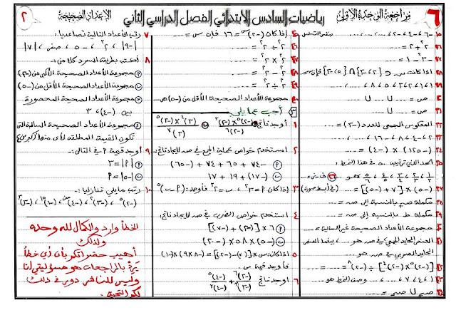مراجعة رياضيات الفصل الثالث