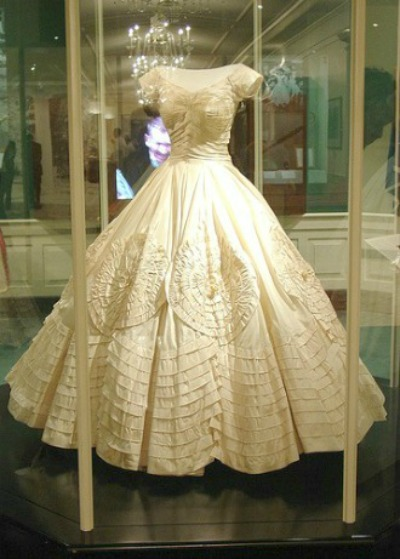 Jacqueline Bouvier Kennedy's beautiful wedding gown on mannequin for display at JFK Library