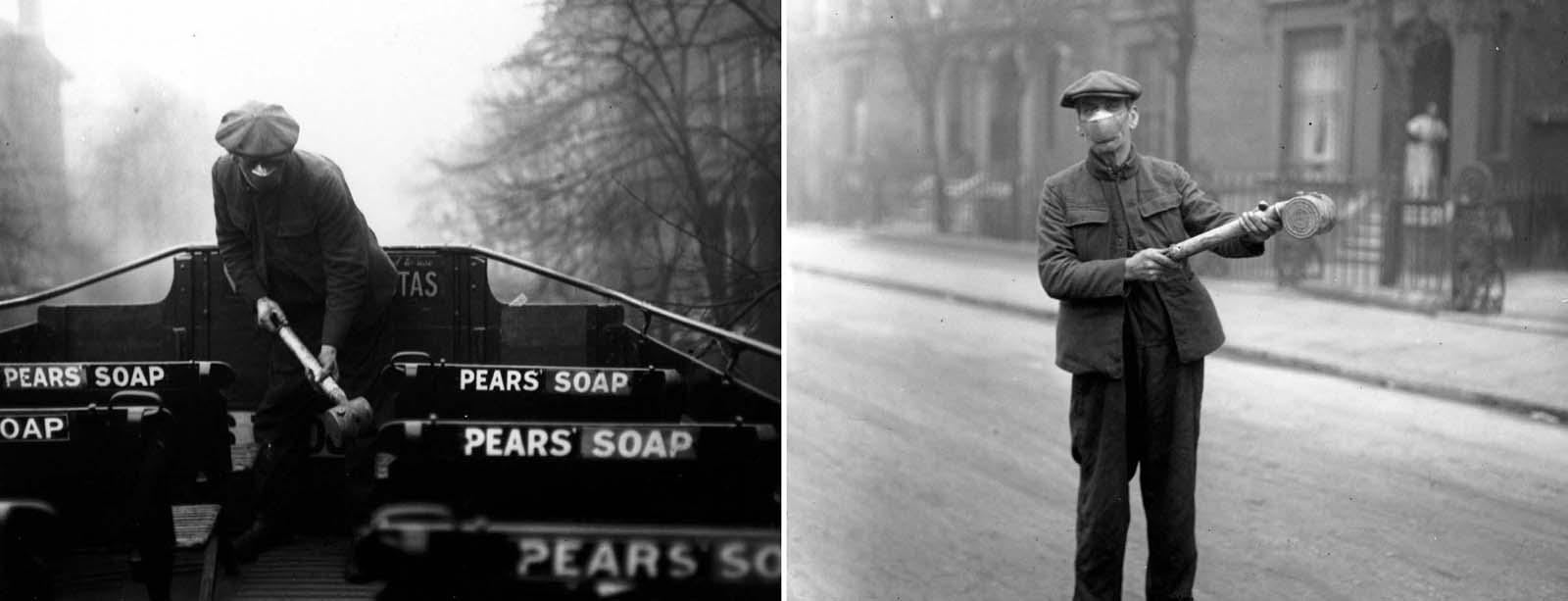Um homem prepara spray anti-gripe para ônibus do London General Omnibus Co. (Londres, 2 de março de 1920).