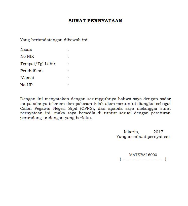 Contoh Surat Pernyataan Rekrutmen Non PNS