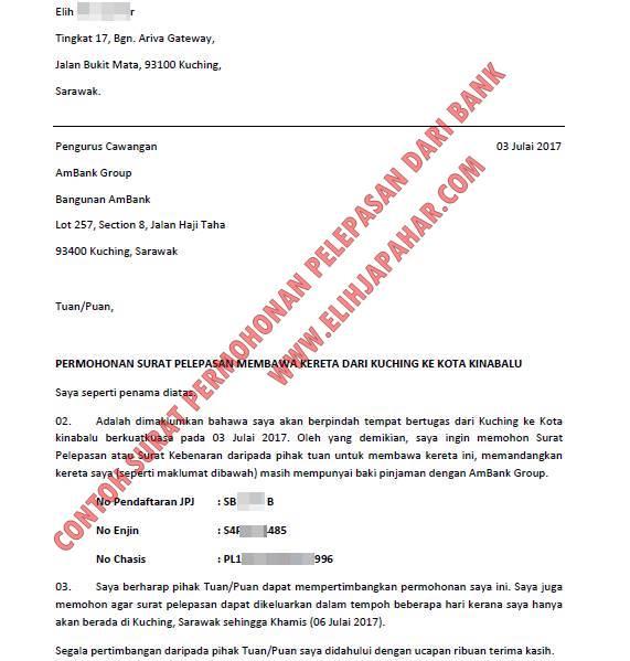 Contoh Surat Permohonan Pelepasan Kereta Dari Bank