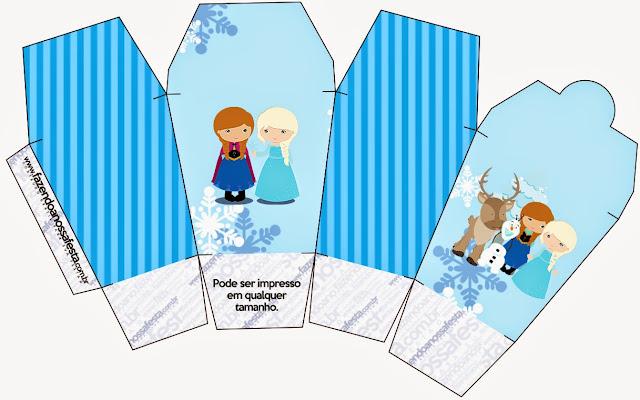 """Caja tipo """"de comida china""""de Frozen Niñas para Navidad Azul."""