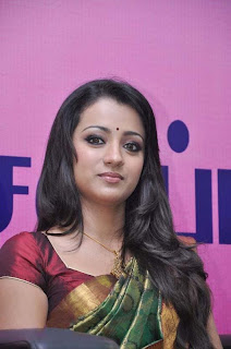 trisha in silk saree