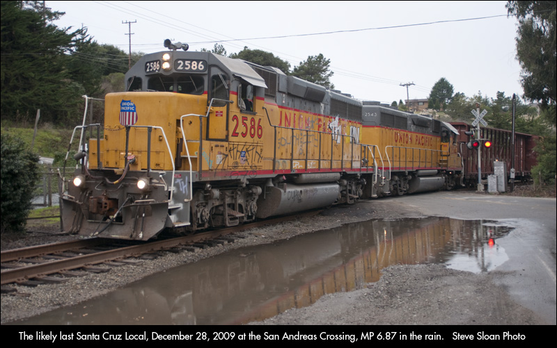 in santa cruz county this had little immediate impact operations in the county were already irregular except for the davenport cement plant traffic