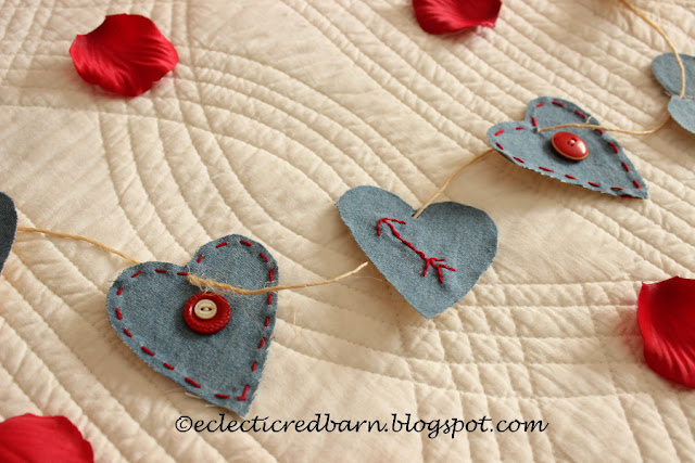 Eclectic Red Barn: Old denim Valentine garland