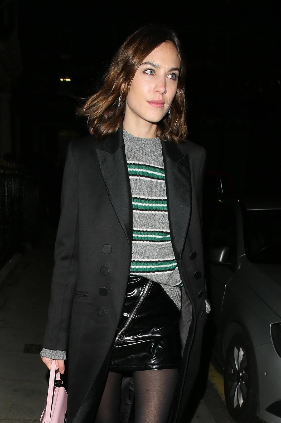 2 Ways to Wear a Striped Sweater Like Alexa Chung – Patent Skirt
