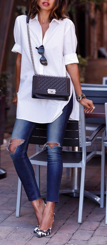 summer casual addict: shirt + bag + rips + heels
