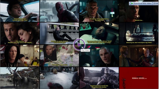 Screenshots Download Film Gratis Deadpool (2016) BluRay 480p MP4 Subtitle Indonesia 3GP Nonton Free Full Movie Streaming