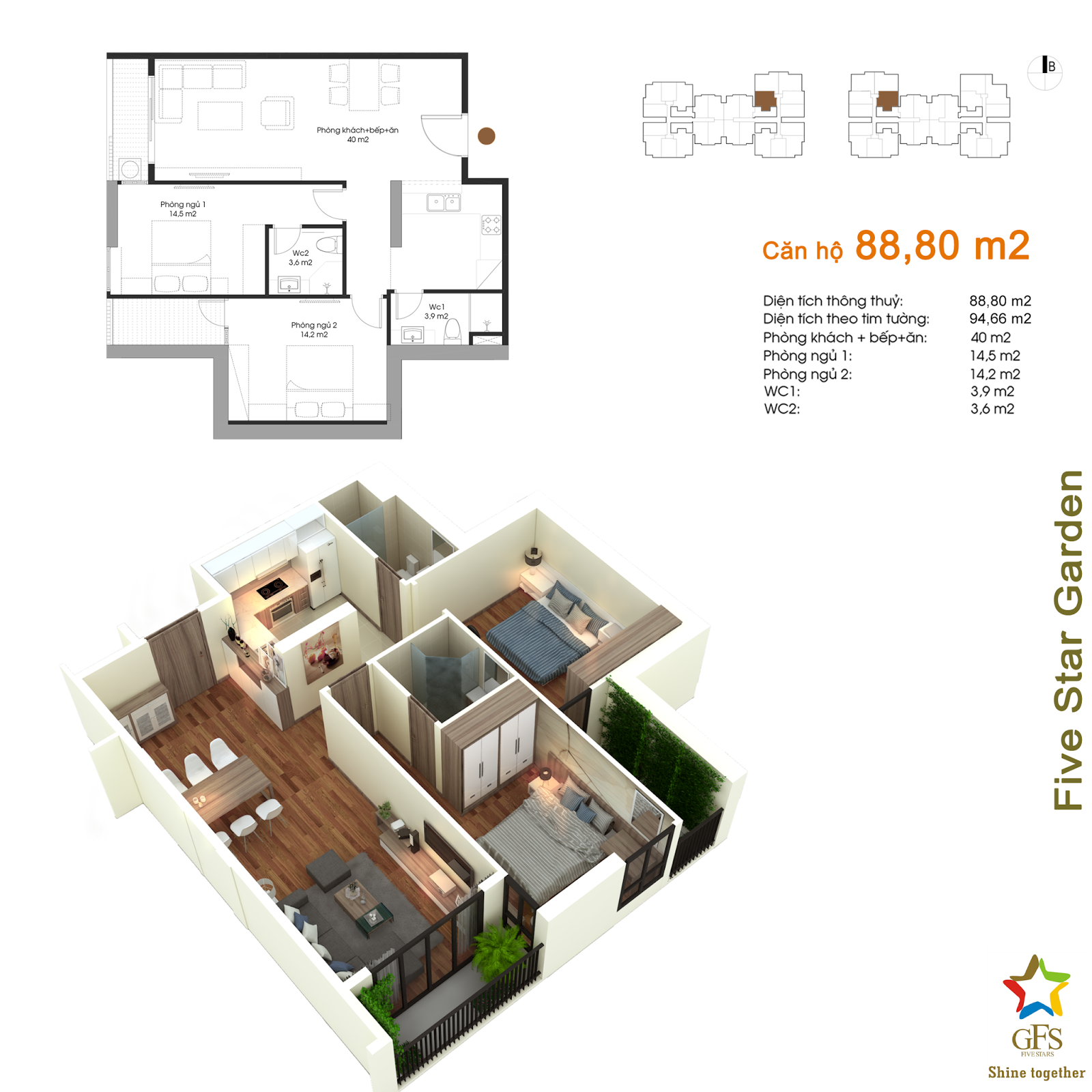 Thiết kế căn hộ 88,80m2 Five Star Kim Giang