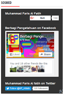 Gambar Model Pertama Membuat Widget 3 in 1 (Fanspage FB, Google+, Follower Twitter)