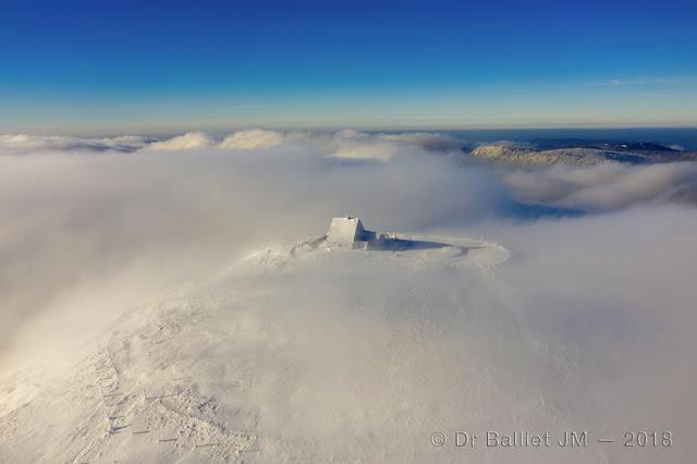 Hohneck, vue aérienne en hiver