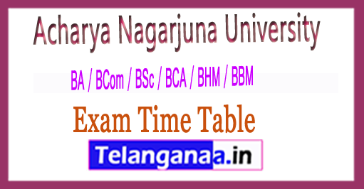 ANU UG (BA / BCom / BSc / BCA / BHM / BBM) Exam Time Table 2017