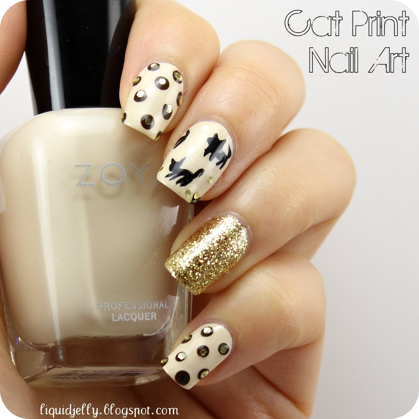 Liquid jelly cat print nail art i love black prints on nude or beige backgrounds especially on fabric so when i saw this adorable cat print nail art in jan 2013s nail venus issue prinsesfo Image collections