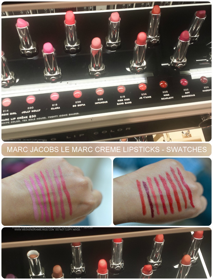 Marc Jacobs Beauty Le Marc Lip Creme Lipsticks - Swatches