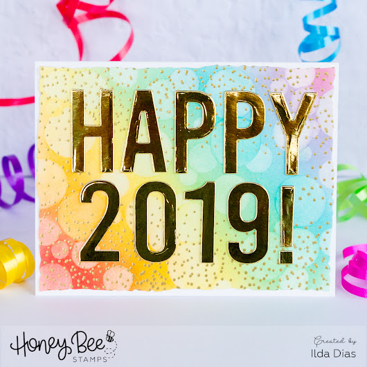 Happy 2019 New Years Rainbow Bokeh Card | Honey Bee Stamps