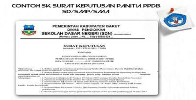 Contoh SK Surat Keputusan Panitia PPDB SDSMPSMA
