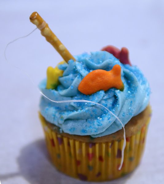 From the fence post fishing cupcakes for P o fish