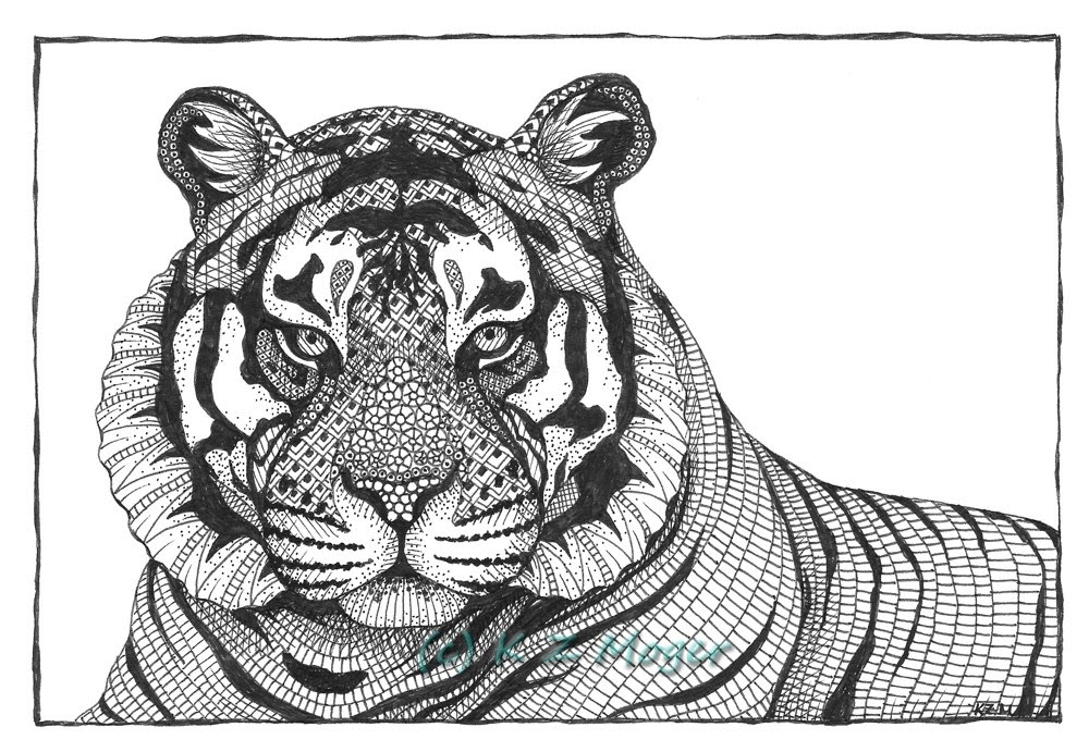 10-Tiger-Kristin-Moger-Animal-Portraits-Dressed-with-Zentangle-Textures-www-designstack-co