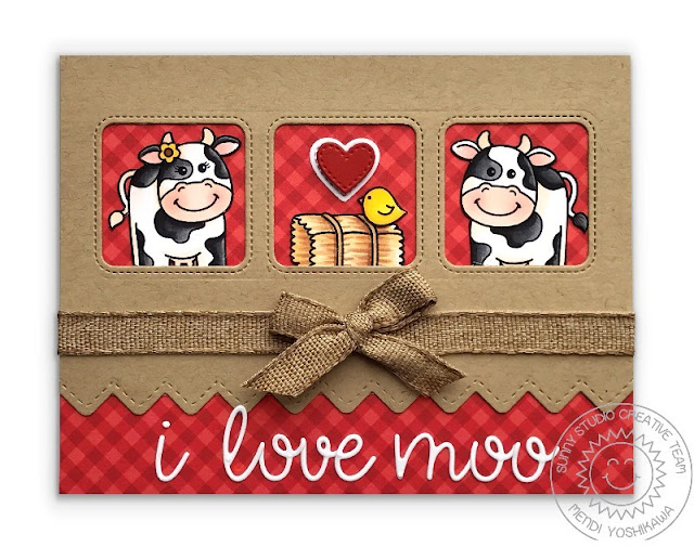 Sunny Studio Stamps Miss Moo Cow Love Themed Card (using Window Trio Squares, Ric Rac Borders and Loopy Letters Dies + Classic Gingham Paper)