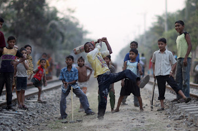 Children Playing cricket without religion
