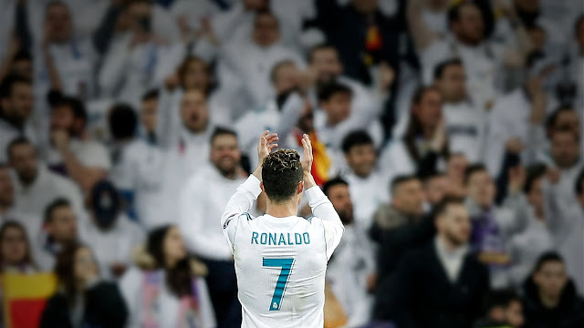 Cristiano Ronaldo applauds Real Madrid fans at the Bernabeu
