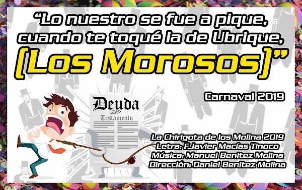 """La chirigota de Los Molinas seran """"Lo nuestro se fue a pique, cuando te toqué la de Ubrique, Los Morosos"""" en el 2019"""