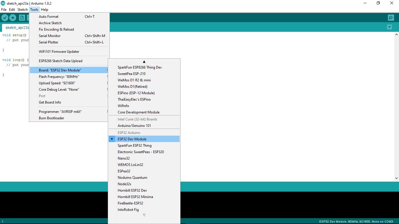 Arduino-er: Install Arduino core for ESP32 to Arduino IDE, on