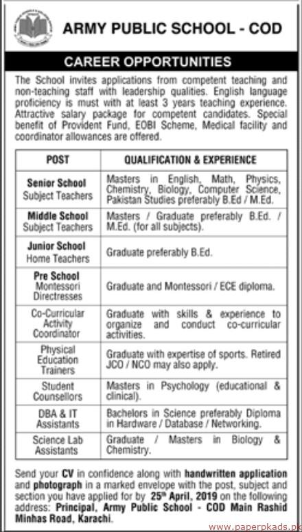 Jobs in Army Public School, Karachi - Jobs in Pakistan