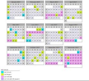 Kalendar Cuti Umum & Cuti Persekolahan Malaysia Bagi Tahun 2017