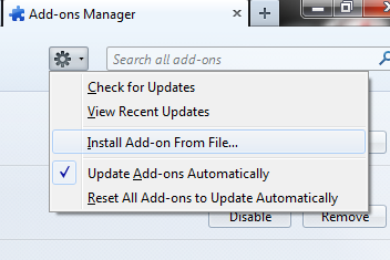 Add-ons Manager