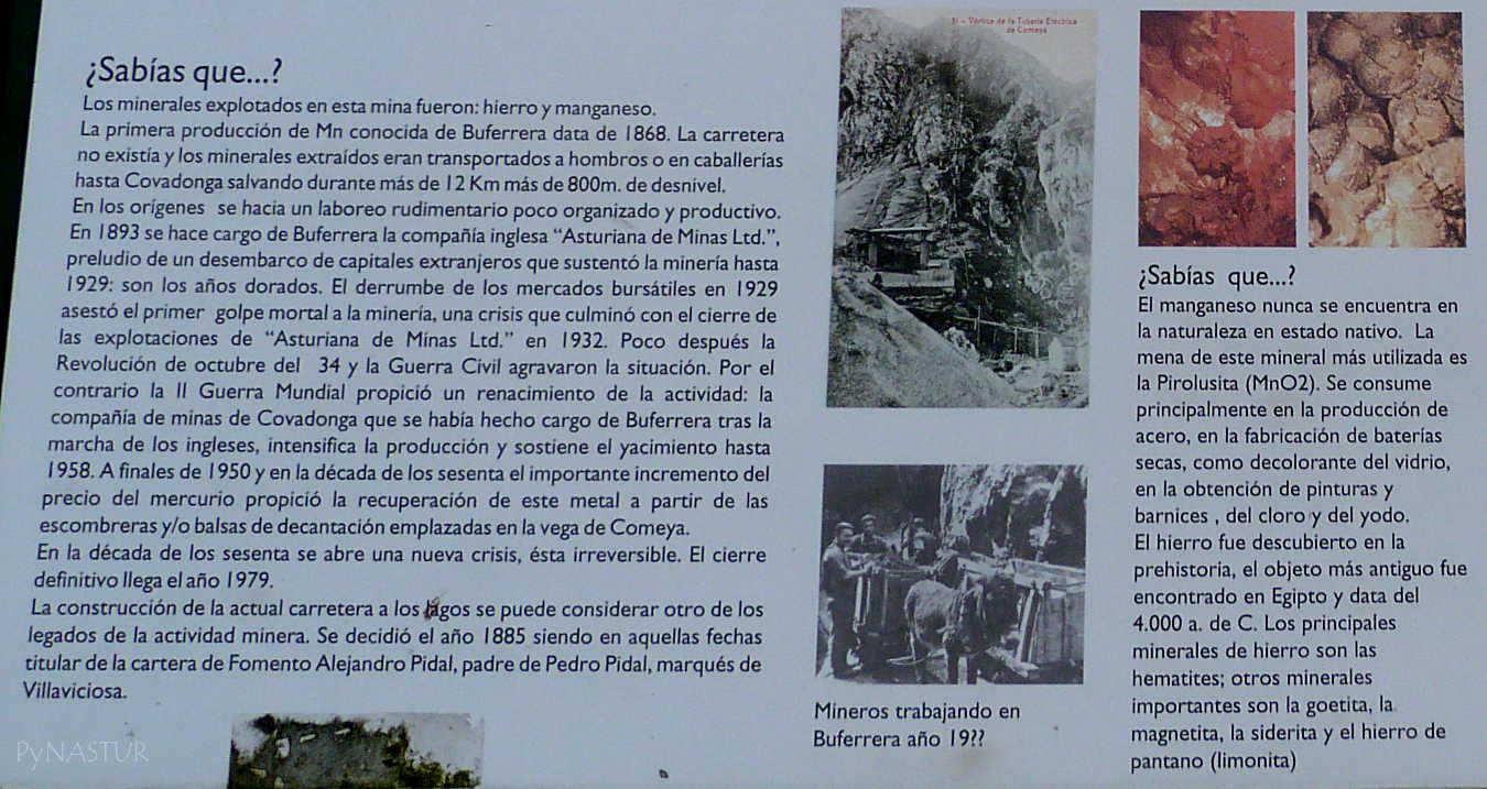 Panel informativo Mina Buferrera  - Lagos de Covadonga - Asturias